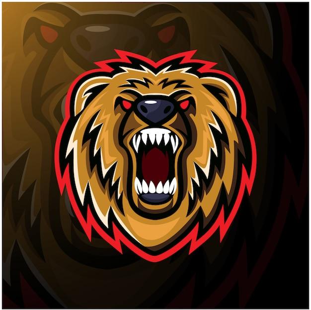 Bärenkopf esport maskottchen logo design