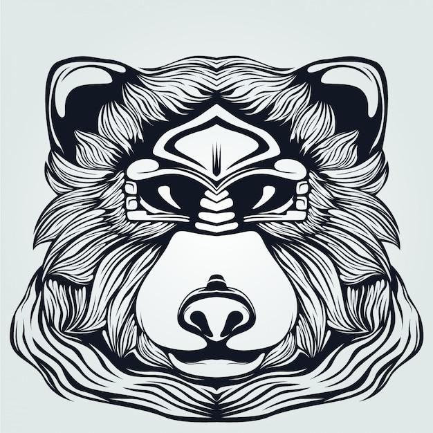 Bärenkopf mit dekorativen augen strichzeichnungen