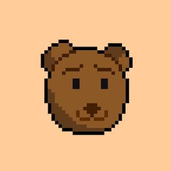 Bärenkopf mit pixel-art-stil