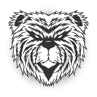 Bärenkopf monochrom detailliertes vektordesignkonzept