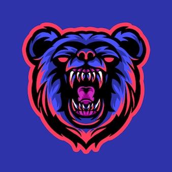 Bärenmaskottchen-esport-logo