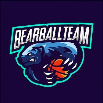 Bärenmaskottchen für basketballmannschaft