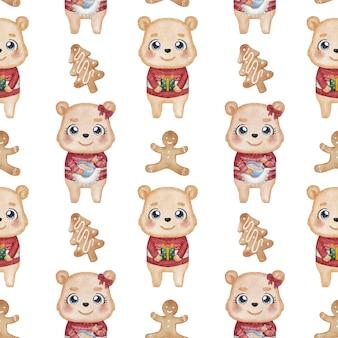 Bärenpaar und lebkuchenmannplätzchenaquarellillustration