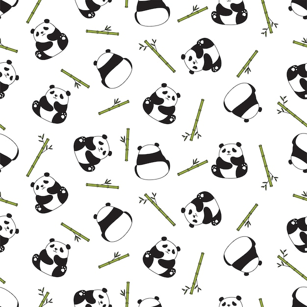 Bärenpanda nahtloses muster bambus