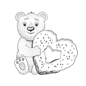Bärenspielzeug mit herzkrapfen.