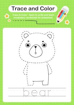 Bärenspur und farbvorschularbeitsblattspur