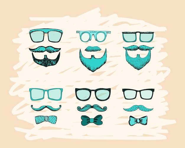 Bärte, schnurrbärte, brillen und schleifen drucken vektorillustration