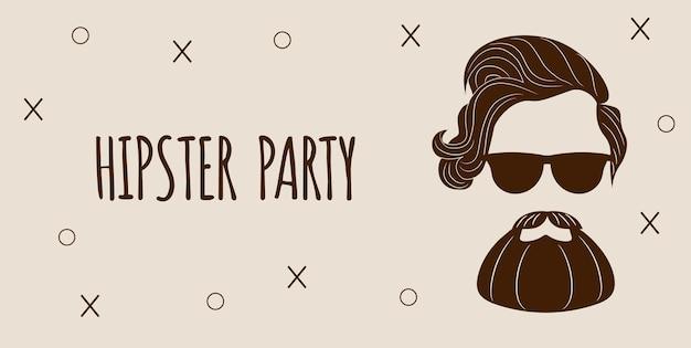 Bärtige hipster-silhouette mit schriftzug - hipster-party.