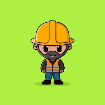 Bärtiger bauarbeiter mit sicherheitsweste logo logo maskottchen