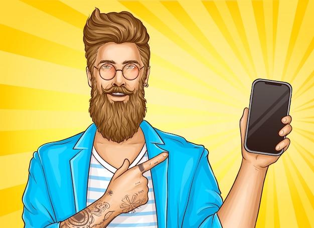 Bärtiger hippie mit tätowierungen zeigen auf smartphone
