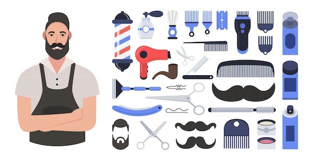 Bärtiger hipster-friseur. zusammensetzung der symbole für den friseurladen