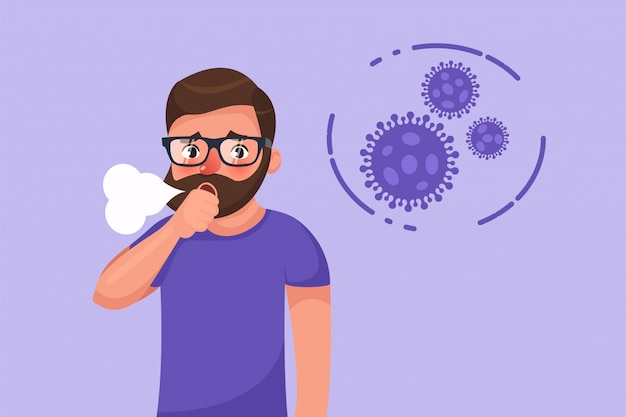 Bärtiger junger mann des cartoon-hipsters mit trockenem hustensymptom des coronavirus.