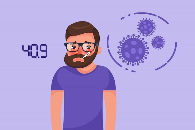 Bärtiger junger mann des karikatur-hipsters mit coronavirus-fieber-symptom. flacher charakter