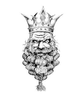 Bärtiger könig mit krone auf dem kopf