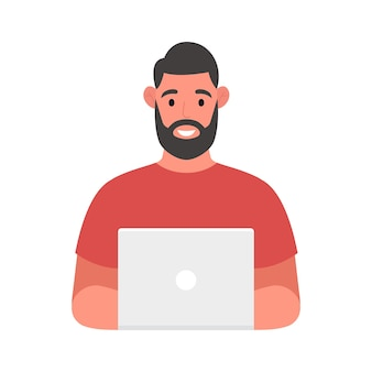 Bärtiger mann an seinem schreibtisch arbeitet an der laptop-computer. freiberufliches jobkonzept. vektor-illustration.