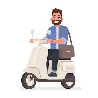 Bärtiger mann, der einen roller zur arbeit fährt. das fahrzeug in der metropole.