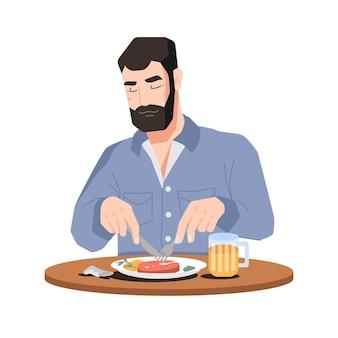 Bärtiger mann, der fleisch isst und bier trinkt, isolierte flache zeichentrickfigur, vektor, männliche person sitzend