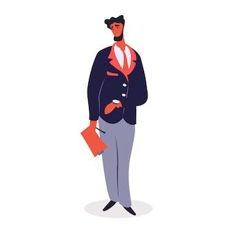 Bärtiger mann, der formelle kleidung trägt