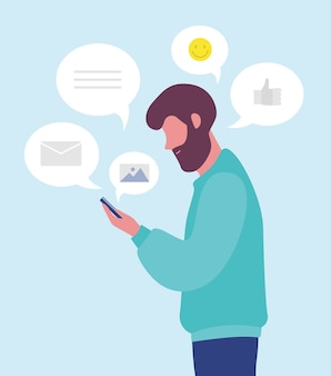 Bärtiger mann, der online chattet oder sms auf smartphone oder handy sendet.