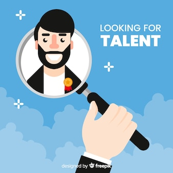 Bärtiger mann, der talenthintergrund schaut