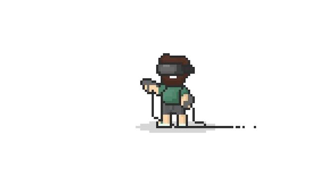 Bärtiger mann des pixels, der die virtuelle realität spielt