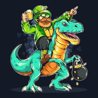Bärtiger mann des st. patrick's day, der einen dinosaurier reitet.