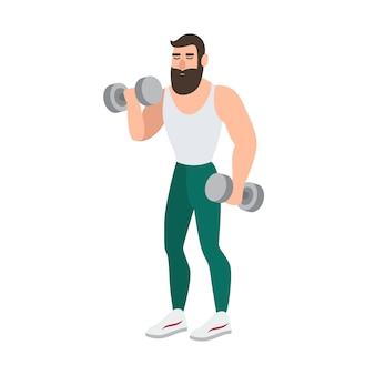 Bärtiger mann in der sportkleidung, die körperliche übung mit hantelpaaren tut. männliche karikaturfigur, die gewichts- oder krafttrainingstrainingsillustration durchführt.