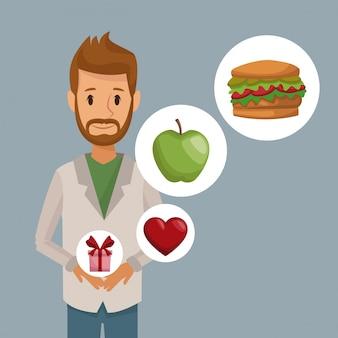 Bärtiger mann und ikone des halben körpers des bunten plakats von gesunden lebensmittelgeschenken der elemente