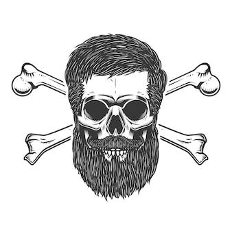Bärtiger schädel mit gekreuzten knochen. element für emblem, zeichen, etikett, poster. illustration