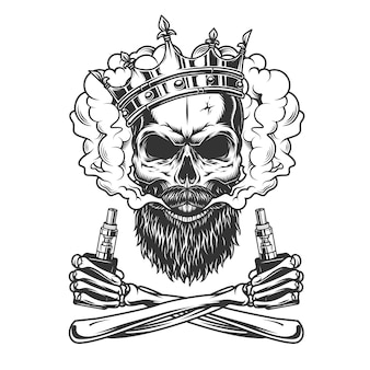 Bärtiger und schnurrbärtiger schädel mit krone