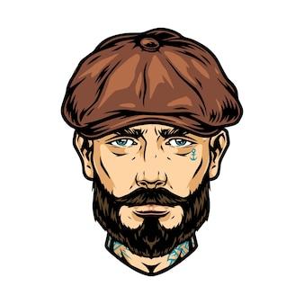 Bärtiger und schnurrbärtiger tätowierter mannkopf in irischer mütze isolierte vektorillustration