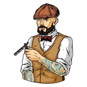 Bärtiger und schnurrbärtiger tätowierter stilvoller friseur in irischer mütze mit rasiermesser im vintage-stil isolierte vektorillustration