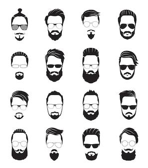 Bärtiges gesicht. schwarze männer bärte. hübsche vorbildliche frisur, porträtgesicht alter hipster. isolierte junge trendige jungs mit haarschnitt