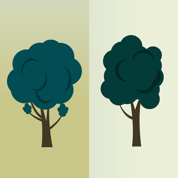Bäume isoliert auf grün