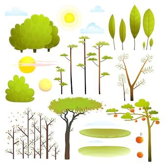 Bäume naturlandschaft objekte clipart-sammlung