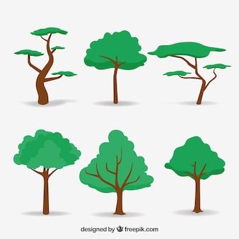 Bäume sammlung im 2d stil