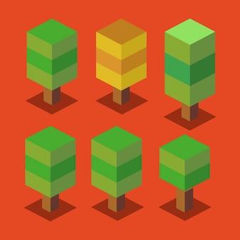 Bäume set 3d pixelate