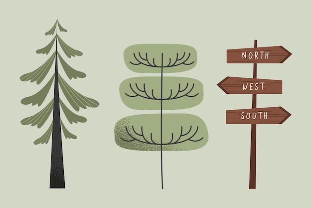 Bäume und hölzerne etikettensymbole