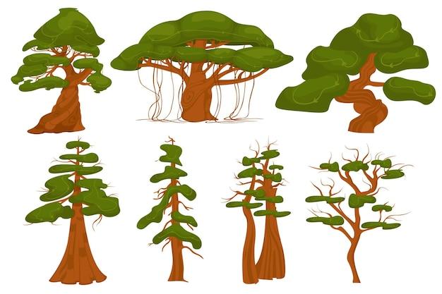 Bäume verschiedener arten entsprechend der dichte der blätter auf weißem hintergrund isoliert