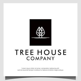 Bäume zu hause logo mit linie kunststil-design-vektor
