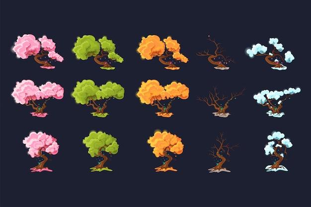 Bäume zu verschiedenen jahreszeiten. bäume in jeder der vier jahreszeiten.