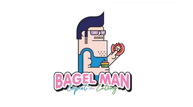 Bagel mann cartoon logo