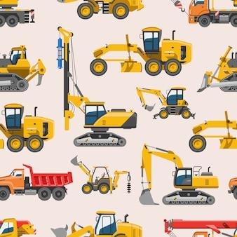 Bagger für bau bagger oder bulldozer aushub mit schaufel und bagger maschinen industrie illustration set