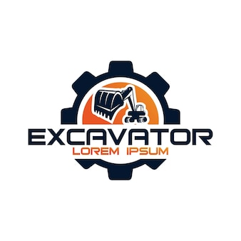 Bagger-vektor-logo-vorlage. bagger-logo. bagger isoliert. bagger, bau, bagger, baugeschäftsikone. konstruktionselemente für baumaschinen.