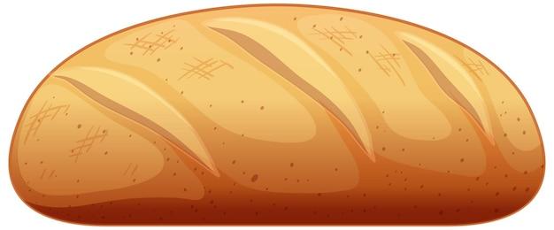 Baguette im cartoon-stil auf weißem hintergrund