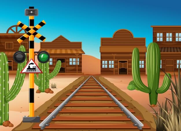 Bahngleis durch die westliche stadt