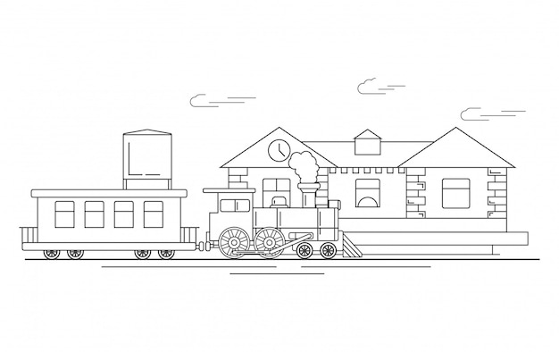 Bahnhof mit dampflok und waggons