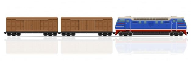 Bahnzug mit lokomotiv- und lastwagenvektorillustration