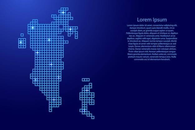 Bahrain-kartensilhouette aus blauen mosaikstrukturquadraten und leuchtenden sternen. vektor-illustration.