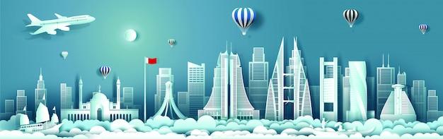 Bahrain mit panoramaansichtgebäude